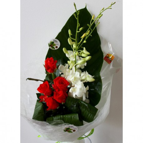 Orchidees blanches et roses oranges